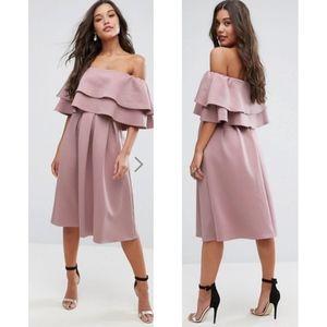 NWT ASOS | Ruffle Off Shoulder Midi Dress